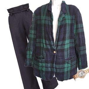 Vintage Adolfo Wool Blend Plaid Blazer Jacket